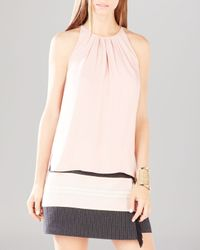 BCBGMAXAZRIA - Pink Kymberly Pleated Neck Top - Lyst