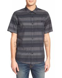 Ezekiel - Black 'gobey' Short Sleeve Stripe Woven Shirt for Men - Lyst