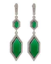 Judith Ripka | Green Modern Deco Double Drop Chalcedony Earrings | Lyst