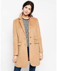ASOS | Natural Coat With Seam Detail | Lyst