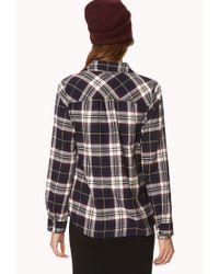 Forever 21 - Blue Crisp Plaid Shirt - Lyst
