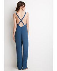 Forever 21 | Blue Crisscross Back Crepe Jumpsuit | Lyst