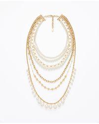Ann Taylor | Pink Pearlized Crystal Sunburst Statement Necklace | Lyst