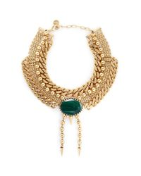 Ela Stone - Green 'perla' Malachite Spike Drop Multi Tier Necklace - Lyst