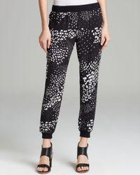 Tibi | Black Track Pants Leopard Ditzy | Lyst
