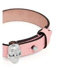 Alexander McQueen - Pink Skull Leather Bracelet - Lyst
