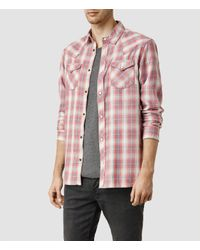 AllSaints | Brown Spokane Shirt Usa Usa for Men | Lyst