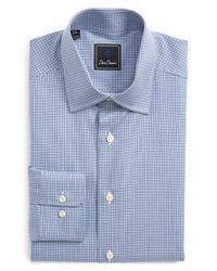 David Donahue - Blue Regular Fit Houndstooth Dress Shirt for Men - Lyst