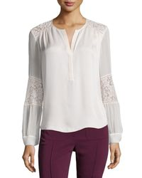 Rebecca Taylor | White Long-sleeve Silk & Lace Blouse | Lyst