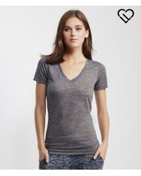 Live Love Dream | Gray Lld Sheer Slub-knit V-neck Tee | Lyst