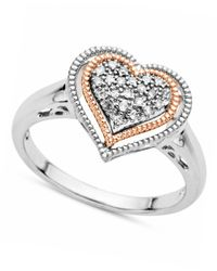 Macy's - Metallic Diamond Heart Ring In 14K Rose Gold And Sterling Silver (1/10 Ct. T.W.) - Lyst