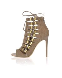 River Island | Natural Dark Beige Lace Up Shoe Boots | Lyst
