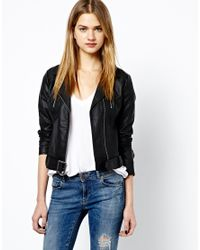 French Connection - Black Albany Biker Jacket in Pu - Lyst