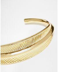 ASOS | Metallic Etched Leaf Cuff Bracelet | Lyst