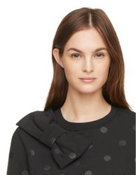 kate spade new york - Black Glitter Dot Bow Sweatshirt - Lyst