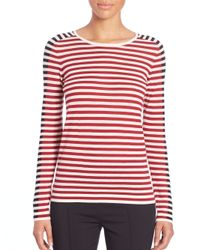 Akris Punto - Red Striped Wool Top - Lyst