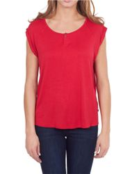 William Rast | Red Henley Cap-sleeve T-shirt | Lyst