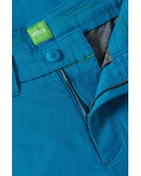 BOSS Green - Blue 'leeman-w' | Slim Fit, Stretch Cotton Pants for Men - Lyst