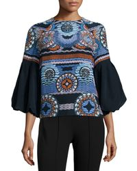 Peter Pilotto - Blue Printed Blouse - Lyst