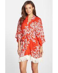 Kensie | Multicolor Print Fringe Kimono | Lyst