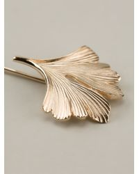 Lanvin - Metallic Leaf Pin - Lyst