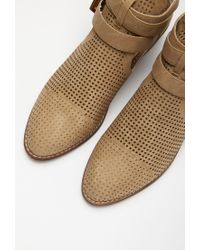 Forever 21 - Brown Perforated Faux Leather Booties - Lyst