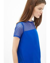 Forever 21 - Blue Lace-paneled Top You've Been Added To The Waitlist - Lyst