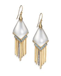 Alexis Bittar | Metallic Sport Deco Lucite & Crystal Spear Fringe Drop Earrings/grey | Lyst