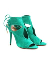 Aquazzura | Green Sexy Thing Suede Sandals | Lyst