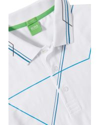 BOSS Green Blue 'paule' | Slim Fit, Stretch Cotton Polo Shirt for men