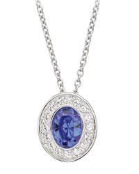 Swarovski | Metallic Tortilla Silvertone Sapphire Crystal Pendant Necklace | Lyst