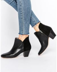 H by Hudson | Chime Black Leather Heeled Ankle Boots - Black | Lyst