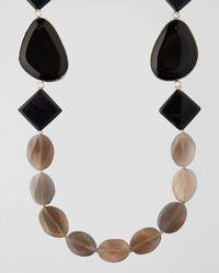 Jaeger - Gray Semi Precious Beaded Necklace - Lyst