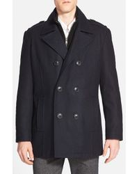 Andrew Marc - Blue Marc New York By 'joshua' Double Breasted Wool Blend Peacoat With Inset Bib for Men - Lyst