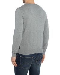 Armani Jeans - Gray V Neck Logo Jumper for Men - Lyst