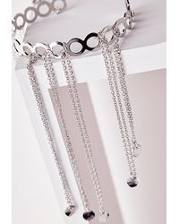 Missguided - Metallic Chain Drop Arm Cuff Silver - Lyst