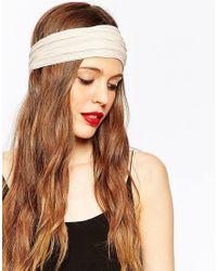 ASOS - Natural Sleek Ribbed Turban Headband - Lyst