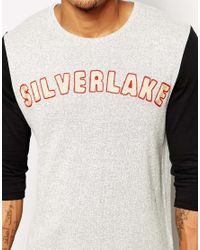 ASOS - Gray 3/4 Sleeve T-Shirt In Textured Fabric With Silverlake Embroidery for Men - Lyst