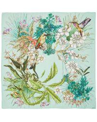 Swash London - Green Amazonia Print Silk Scarf - Lyst