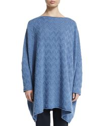 Eskandar - Blue Zigzag-stitched Cashmere Raglan Sweater - Lyst