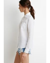 Forever 21 - White Linen Button-collar Shirt - Lyst