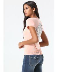 Bebe | Pink Solid Crochet Inset Tee | Lyst