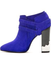 Toga Pulla | Blue Suede Western Buckle Ankle Boots | Lyst