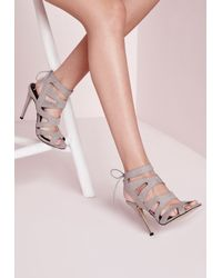 Missguided - Gray Laser Cut Heeled Sandals Grey - Lyst