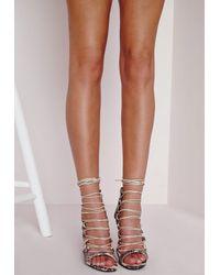 Missguided - Metallic Peep Toe Lace Up Heeled Sandals Snakeskin - Lyst