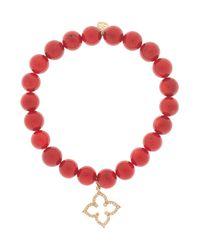 Sydney Evan | Red Coral Flower Bracelet | Lyst