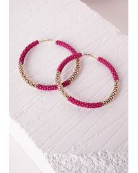 Missguided - Colour Block Chain Hoop Earrings Pink - Lyst