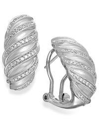 Macy's   Metallic Diamond Swirl Hoop Earrings In Sterling Silver (1/4 Ct. T.w.)   Lyst