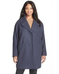 Marc New York | Blue 'wendy' Notch Collar Wool Blend Coat | Lyst
