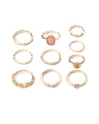 Forever 21 - Metallic Opal Faux Stone Mixed Ring Set - Lyst
